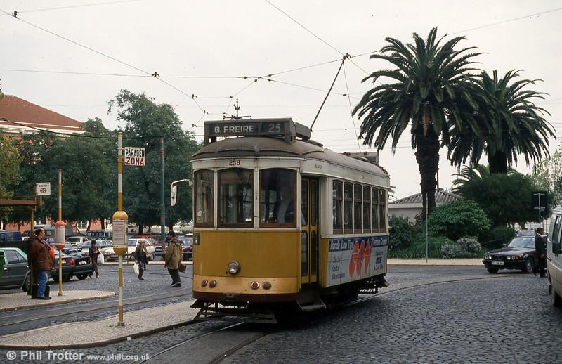 Lisbon 238 at the terminus at Largo do Corpo Santo, 23rd November 1993.