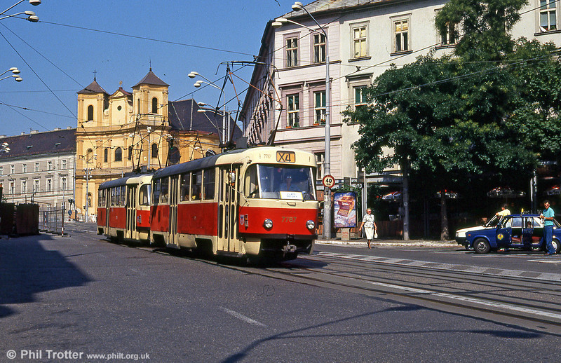 Tatra T3 7787 at Župné námestie on 16th August 1992.
