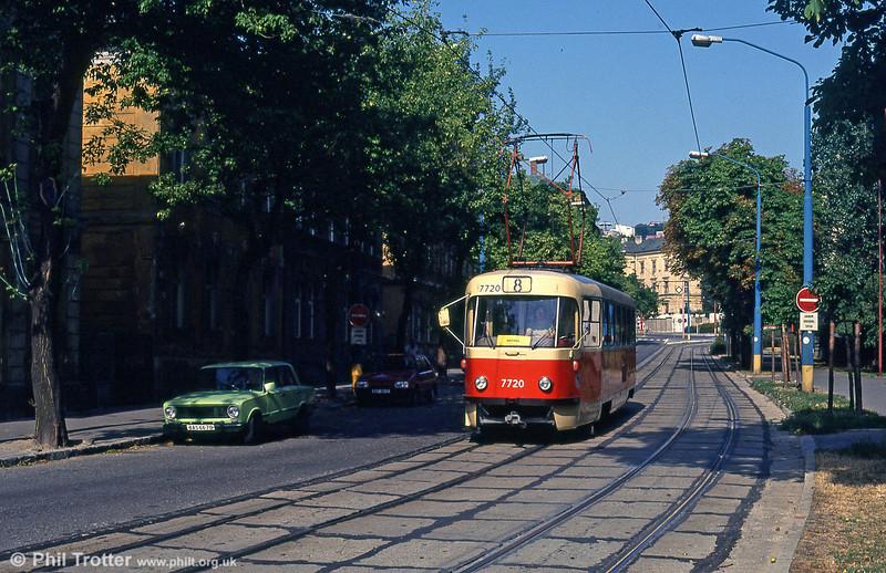Tatra T3 7720 at Štefanovičova on 16th August 1992.