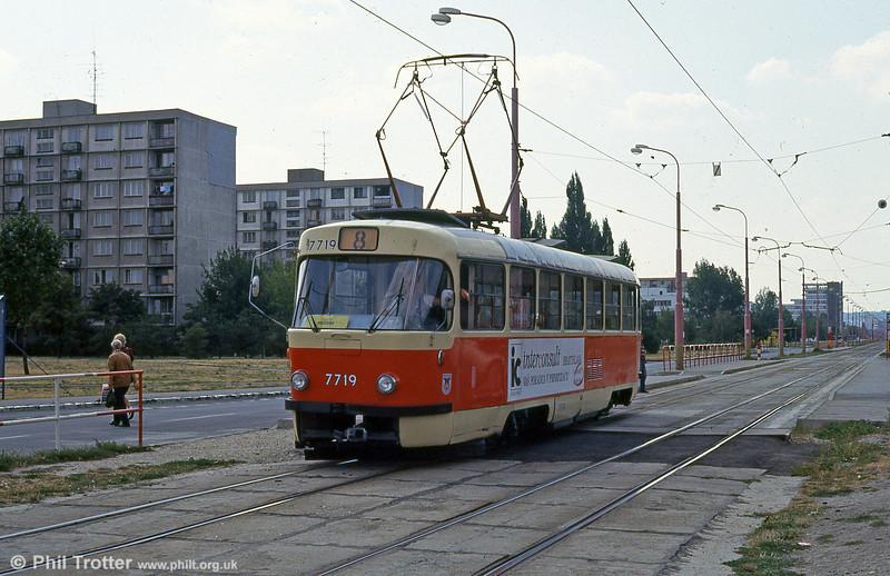Tatra T3 7719 at Ružinovská on 16th August 1992.