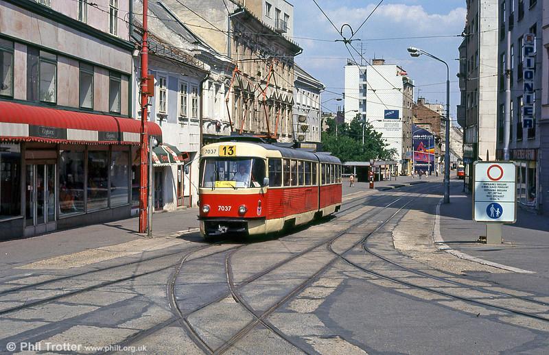 Tatra K2 7037 at Obchodná on 16th August 1992