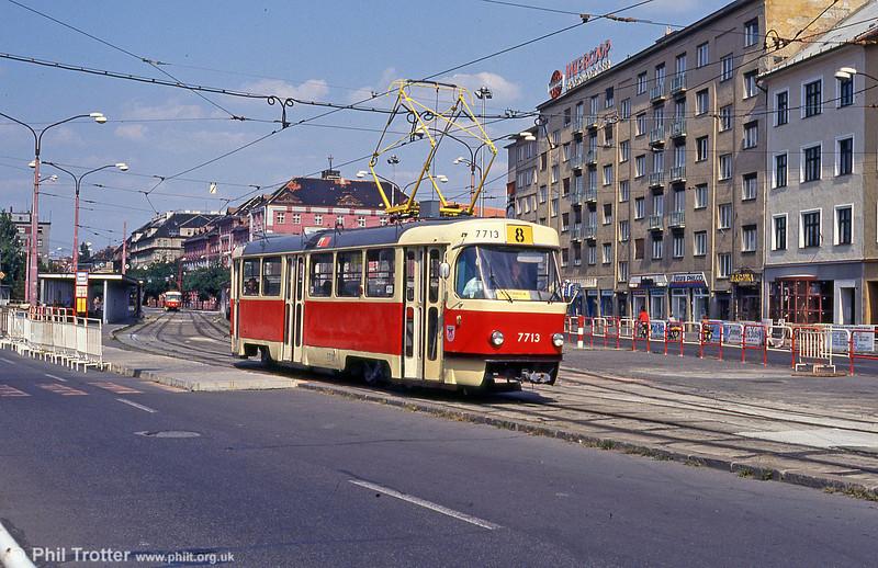 Tatra T3 7713 at Trnavská on 16th August 1992.