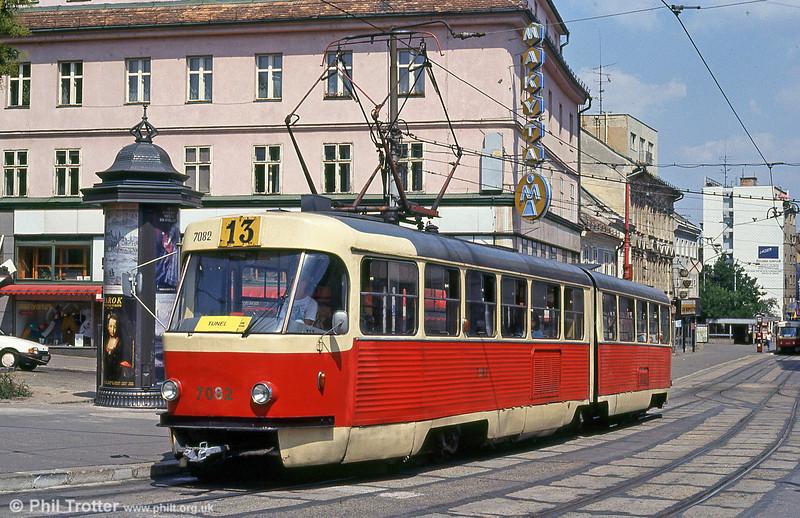 Tatra K2 7082 at Obchodná on 16th August 1992.