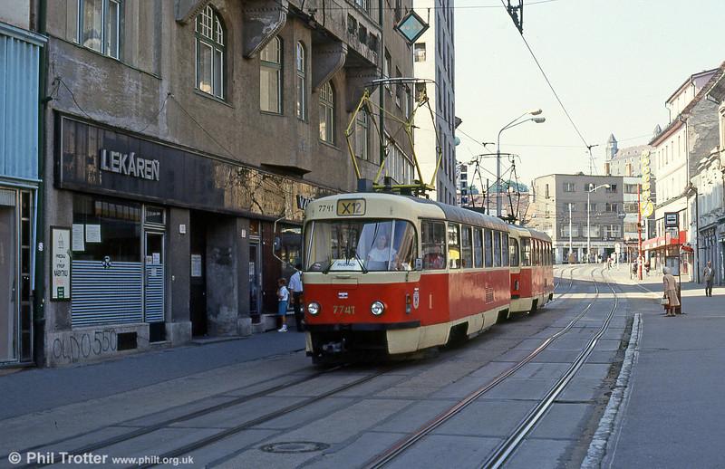 Tatra T3 7741 at Obchodná on 16th August 1992.