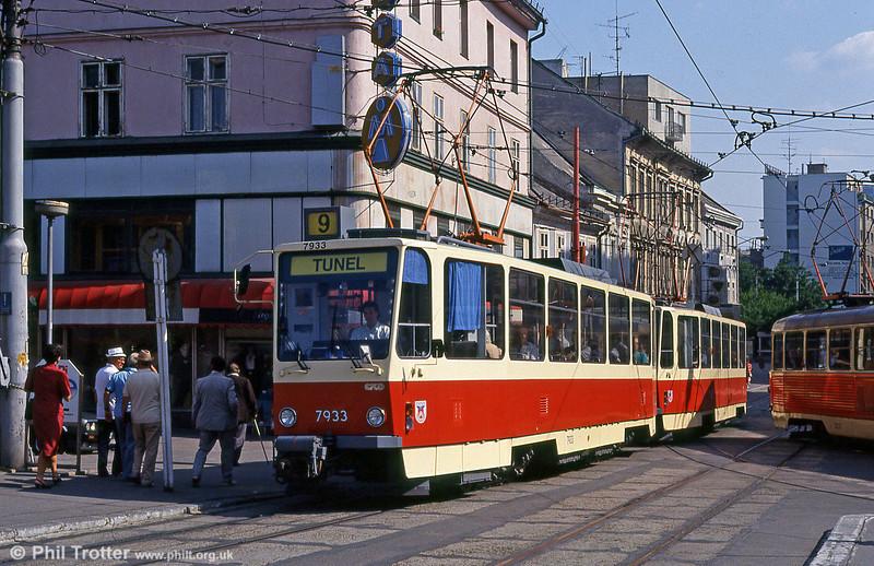 Tatra T6A5 7933 at Obchodná on 16th August 1992.