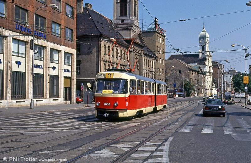 Bratislava Tatra K2 7053 at Kamenné námestie on 16th August 1992.
