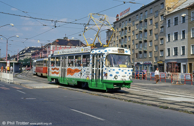 Another advertising livery, this time on Tatra T3 7826 at Trnavská on 16th August 1992.
