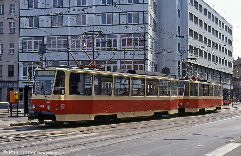 Tatra T6A5 7904 Námestie Slovenského národného povstania on 16th August 1992.