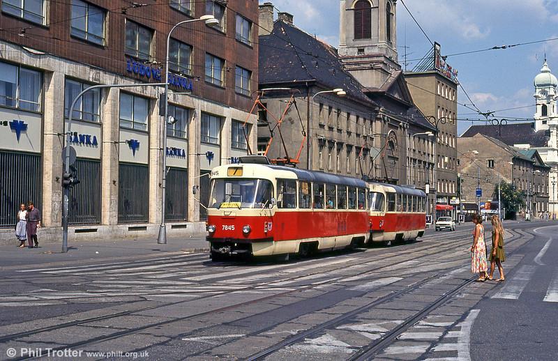 Bratislava Tatra T3 7845 at Kamenné námestie on 16th August 1992.