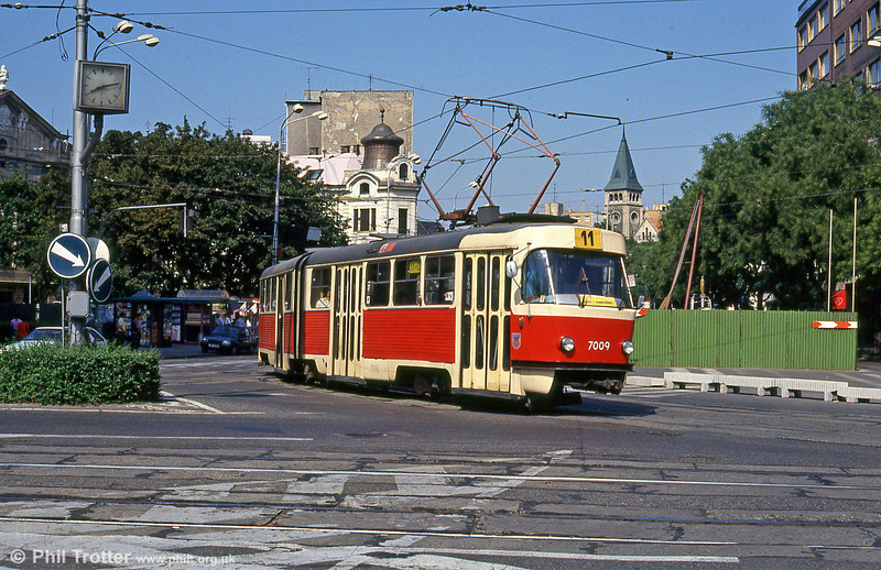 Tatra K2 7009 at Kamenné námestie on 16th August 1992.