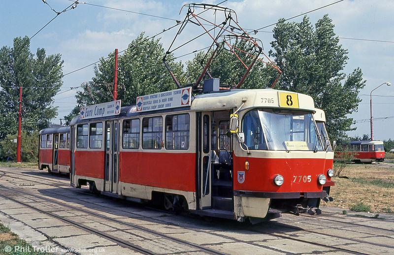 Bratislava Tatra T3 7705 at Ružinovská terminus on 16th August 1992.