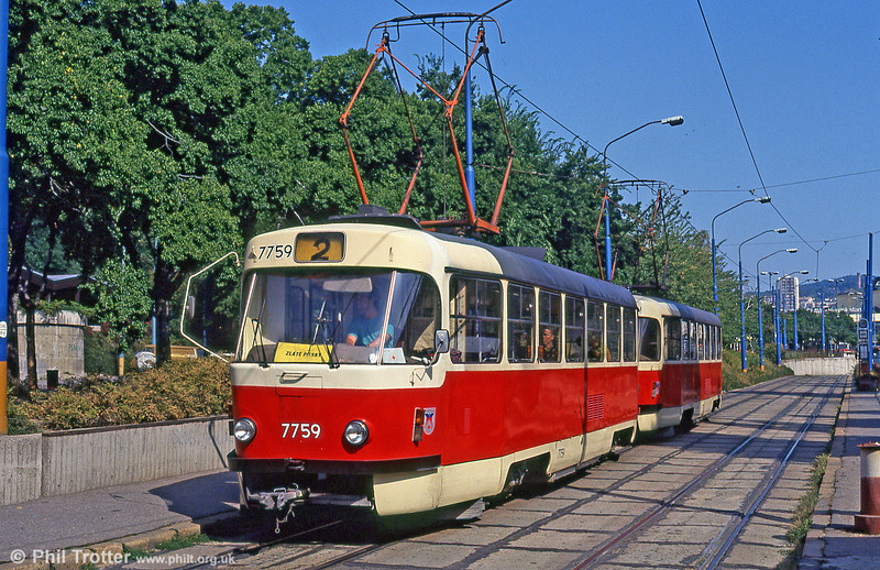 T3 7759 near Hlavná stanica (Central Railway Station) loop on 16th August 1992.
