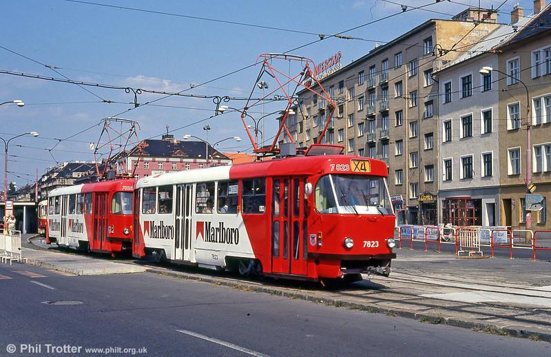 Advertising liveried Tatra T3 7823 at Trnavská on 16th August 1992.