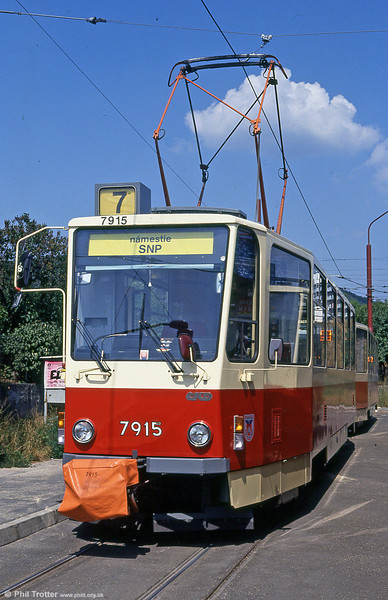 Bratislava Tatra T6A5 7915 at Vinohrady turning circle on 16th August 1992.