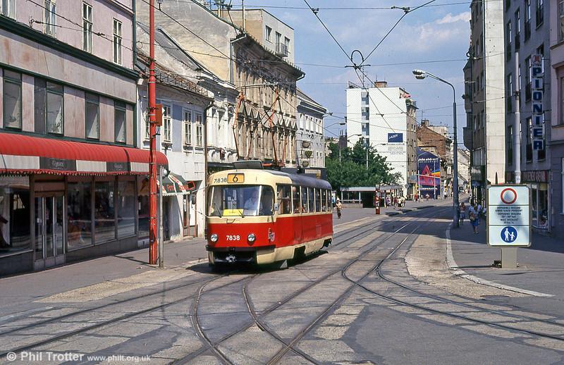 Tatra T3 7838 at Obchodná on 16th August 1992.