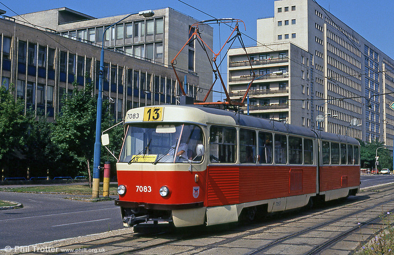 Tatra K2 7083 at Námestie Slobody on 16th August 1992. The building in the background is that of the Ministry of Transport, Construction and Regional Development of the Slovak Republic.