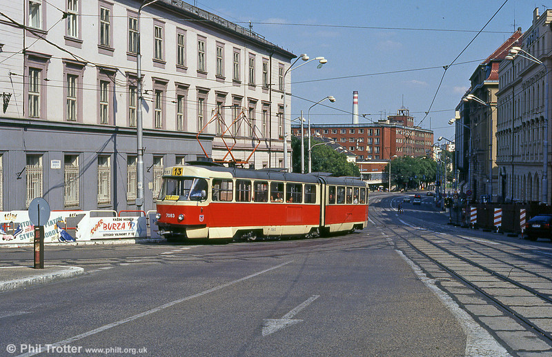 Tatra K2 7083 at Župné námestie on 16th August 1992.