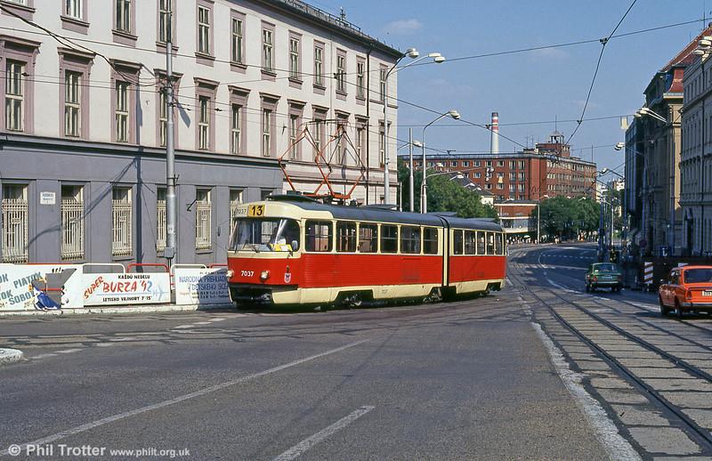 Tatra K2 7037 at Župné námestie on 16th August 1992.
