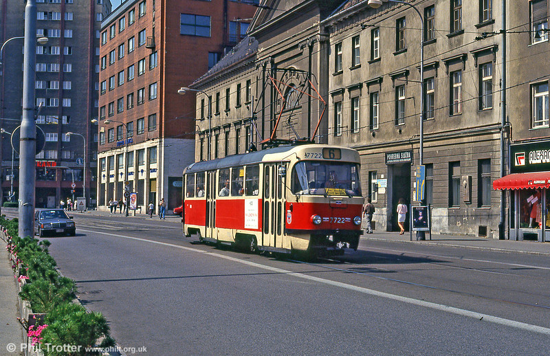 Tatra T3 7722 at Špitálska on 16th August 1992.