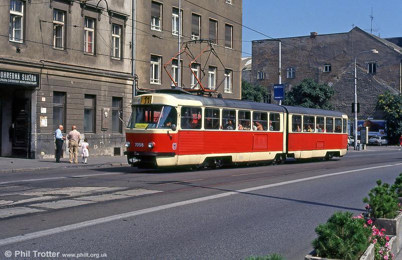 Tatra K2 7058 at Kamenné námestie on 16th August 1992.