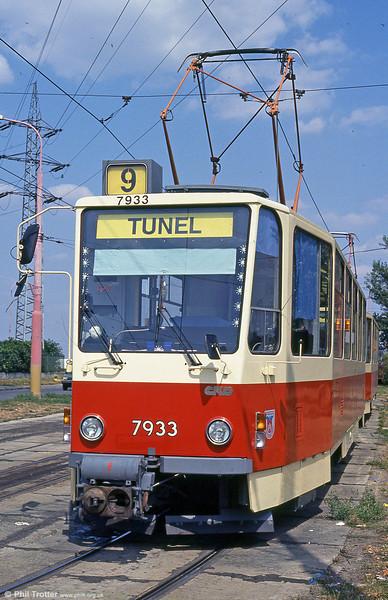 Bratislava Tatra T6A5 7933 at Ružinovská terminus on 16th August 1992. (First published in Light Rail & Modern Tramway, 5/94).