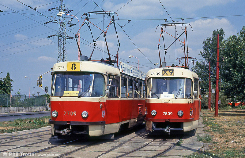 Bratislava Tatra T3s 7705 and 7839 at Ružinovská terminus on 16th August 1992.