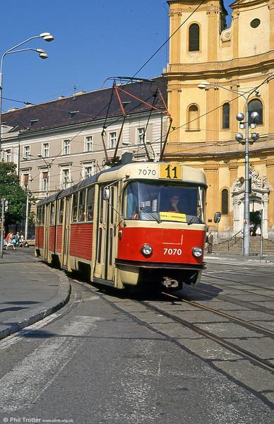 Tatra K2 7060 at Župné námestie with the backdrop of Trinity Church on 16th August 1992.