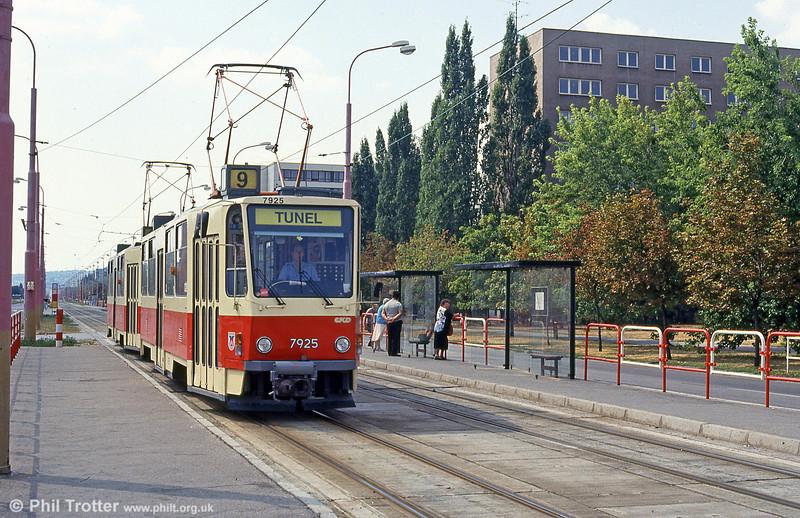 Bratislava Tatra T6A5 7925 at Ružinovská on 16th August 1992.