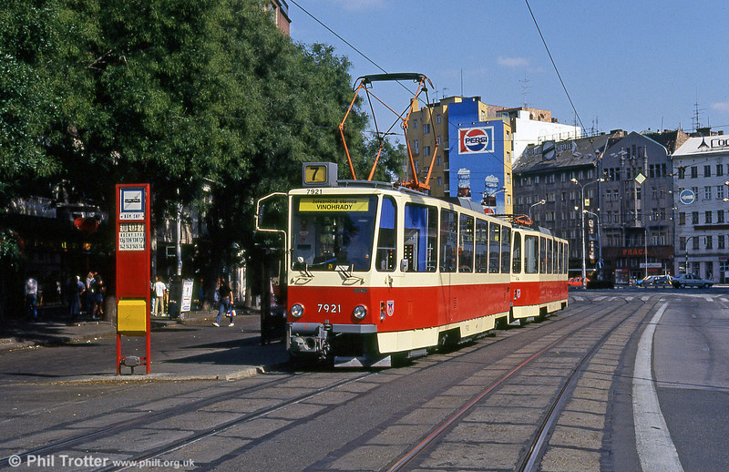 Bratislava T6A5 7921 at Kamenné námestie on 16th August 1992.