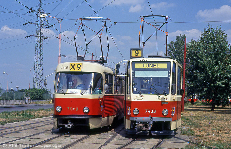 The old and the new: Bratislava Tatra T3 7060 and T6A5 7933 at Ružinovská terminus on 16th August 1992.