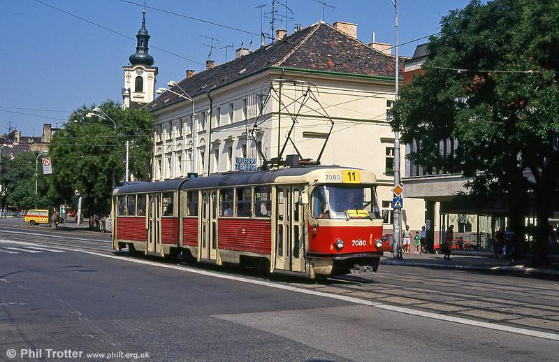 Tatra K2 7080 at Kamenné námestie on 16th August 1992.