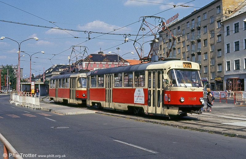 Bratislava Tatra T3 7805 at Trnavská on 16th August 1992. Between 1966 and 1977 the city purchased 132 trams of this type.