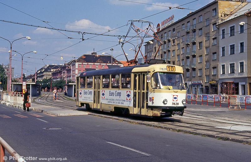 Advertising liveried Tatra T3 7828 at Trnavská on 16th August 1992.