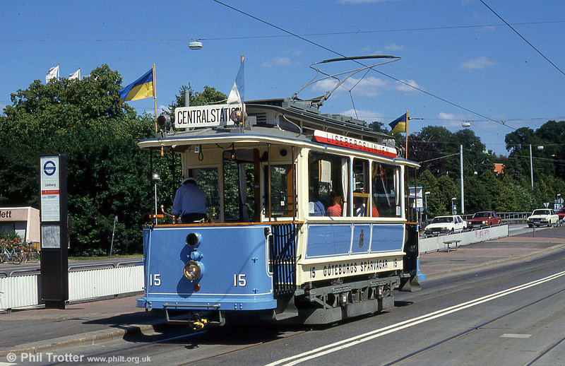 Goteborg 15 on the vintage tram service at Liseberg Park on 30th July 1991. This ASEA M1 class car dates from 1902.