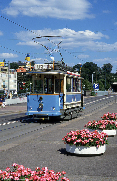 Goteborg historic car 15 at Liseberg Park, 30th July 1991. Vintage trams in Gothenburg are run during the peak tourist season by Spårvägssällskapet Ringlinien (Ringlinien Tramway Society), a non-profit organisation.