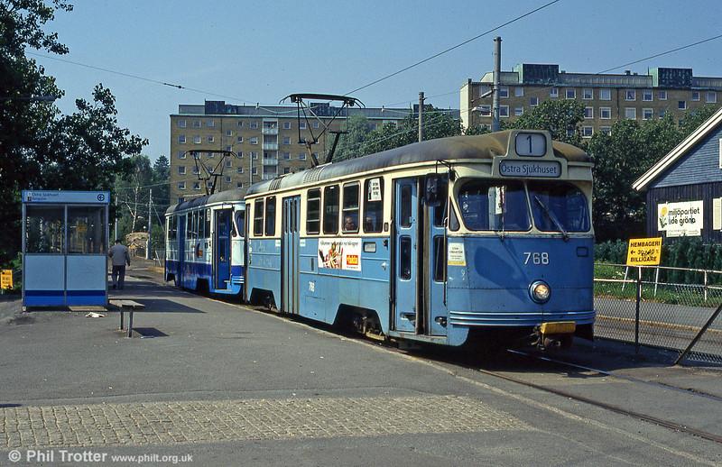 Car 768 at Marklandsgatan on 29th July 1991.