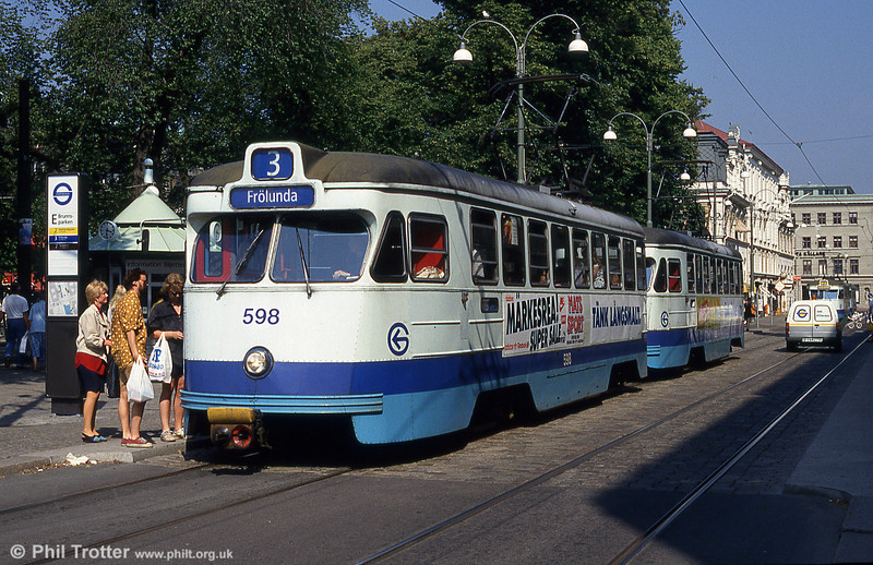 Car 598 at Brunnsparken on 29th July 1991.