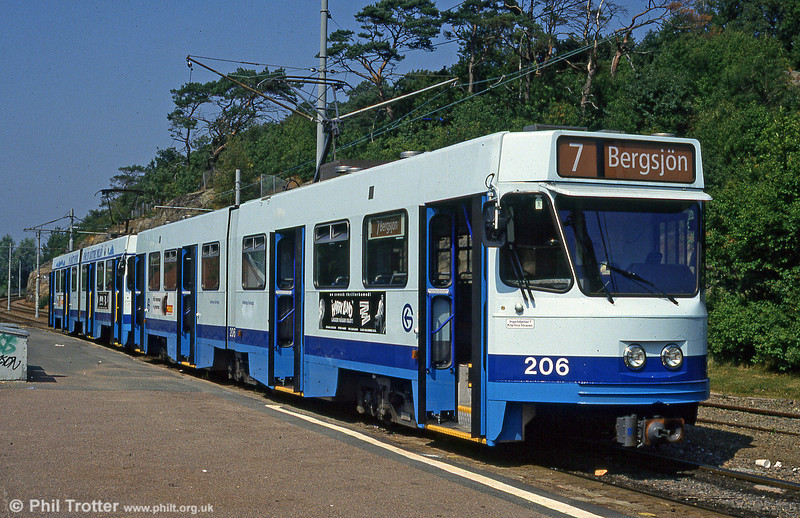 Goteborg ABB articulated car 206 at Tynnered, 29th July 1991.