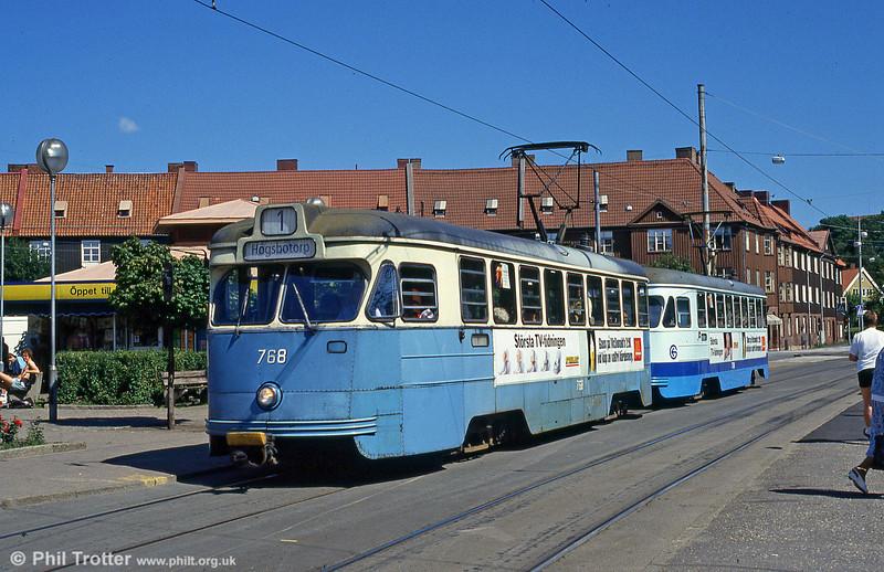 Car 768 at Redbergsplatsen on 30th July 1991.