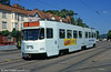 Car 202 at Redbergsplatsen on 30th July 1991.  ASEA-built M21 cars 200 to 259 were built between 1988 and 1991. They were rebuilt with a centre low floor section from 1998 and renumbered 300 to 359.