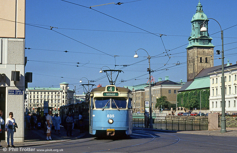 Goteborg 835 at Brunnsparken on 30th July 1991. The tower is that of the Christiane Church, opened in 1748 and also known as the German Church.