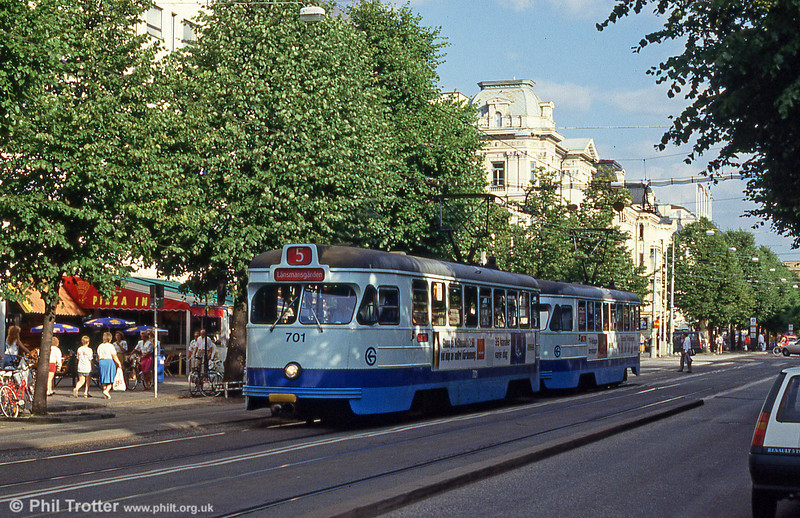 Goteborg 701 at Valand on 30th July 1991. M28 cars 701 to 770 were built by ASJL in 1965 to 1967.