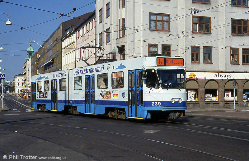 Goteborg artic car 239 near the Central Station on 30th July 1991. (First published in Light Rail & Modern Tramway, 2/92).