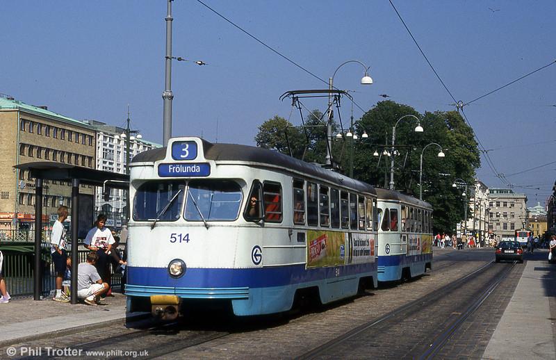 Car 514 at Brunnsparken on 29th July 1991.