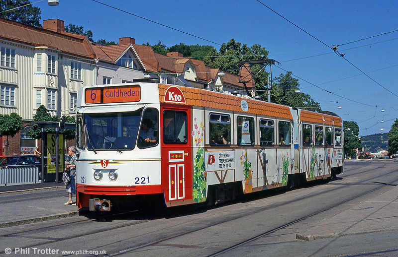 Car 221 in an advertising livery at Redbergsplatsen on 30th July 1991.