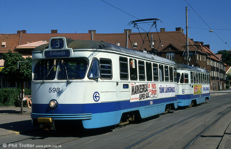 Car 598 at Redbergsplatsen on 30th July 1991.