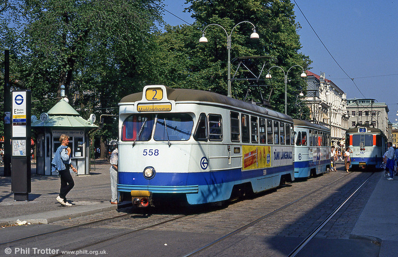 Car 558 at Brunnsparken on 29th July 1991.