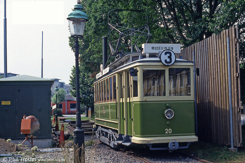 On high days and holidays, the  Swedish Tramway Society at Malmo runs this vintage car built by ASEA in 1907 (and rebuilt in 1928) on a heritage route which serves the Technical Museum. 3rd August, 1991.