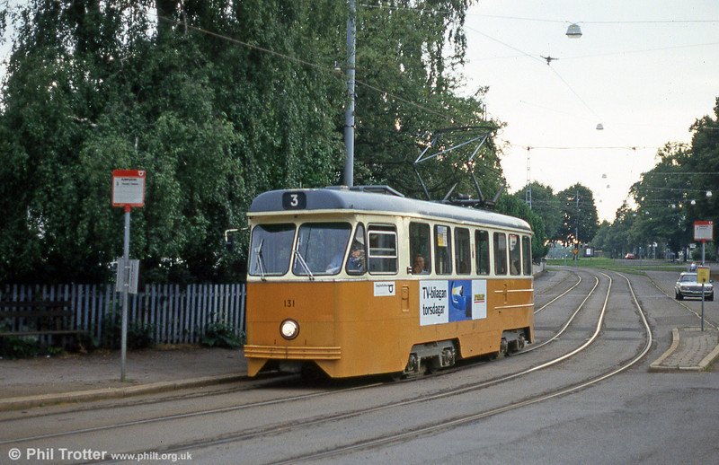 Car 131 at Humpgatan on 2nd August 1991. The fleet of M67 cars 131 to 155 were built by ASJL/ASEA in 1966-1967.