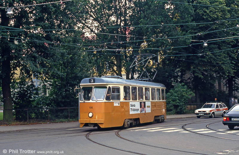 Car 136 at Söder Tull on 2nd August 1991.